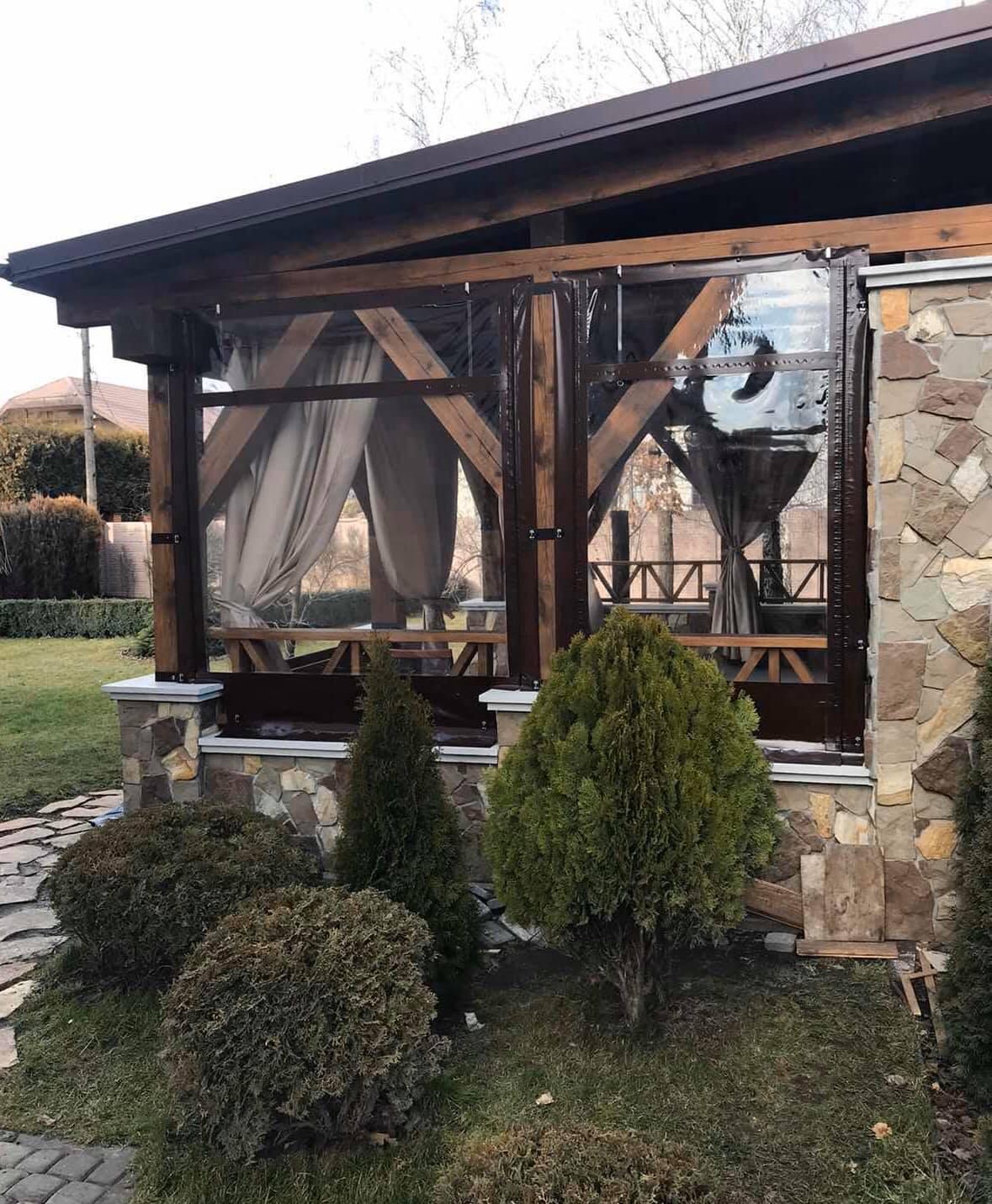 Гибкие окна для беседки в Марганце